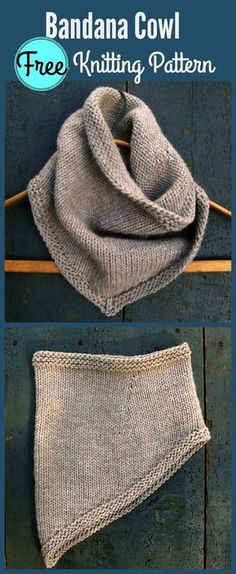 Bandana Cowl Free Knitting Pattern – I love this! But also, maybe in a size fo… Bandana Cowl Free Knitting Pattern – I love this! But also, maybe in a size for Reed? On super cold days this would be good I think. Baby Knitting Patterns, Loom Knitting, Knitting Stitches, Free Knitting, Crochet Patterns, Knitting Ideas, Knitting Scarves, Knitting Tutorials, Outlander Knitting Patterns