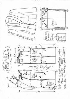 Two button women's blazer, trim finished outer edges Sewing Pants, Sewing Clothes, Diy Clothes, Coat Patterns, Dress Sewing Patterns, Clothing Patterns, Blazer Pattern, Jacket Pattern, Costura Fashion