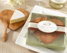 Eco-Friendly Heart Shaped Bamboo Cheese Board from Wedding Favors Unlimited