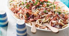 Coleslaw with a bacon twist. Easy and lasts for days, unless you can't resist it, of course! Curry Pasta Salad, Easy Pasta Salad, Pasta Salad Recipes, Easy Salads, Summertime Salads, Summer Salads, Top Recipes, Cooking Recipes, Creamy Pasta Bake