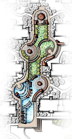 cascading water feature, central landscape, pavilion, flower garden, landscape m. Architecture Design Concept, Landscape Architecture Drawing, Landscape Design Plans, Garden Design Plans, Pavilion Architecture, Landscape Drawings, Masterplan, Parking Design, Garden Planning