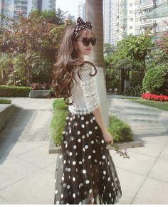Morpheus Boutique  - Black White Gauze Dots Knit 2 Pieces Suit Hem Top Skirt, CA$133.32 (http://www.morpheusboutique.com/black-white-gauze-dots-knit-2-pieces-suit-hem-top-skirt/)