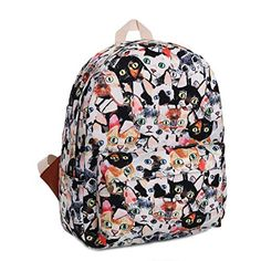 Gumstyle Canvas Travel School Bag Backpack Rucksack Cats ** Check this awesome product by going to the link at the image. (Note:Amazon affiliate link)