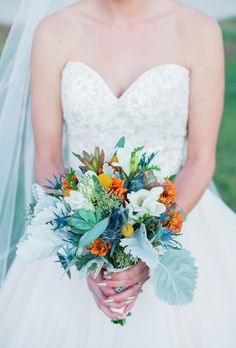 Gorgeous  orange and sage green country bouquet!