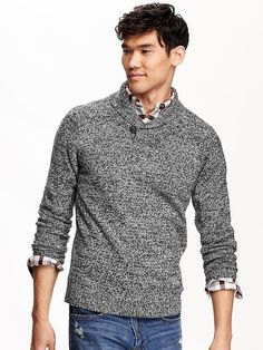 Old Navy Men's Marled Shawl-Collar Sweater // File this under: Things I'd like to make my husband that he would never wear