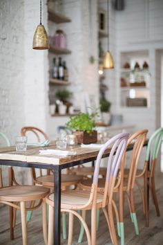 Hally's Parsons Green, communal tables with pastel colored dip dyed bentwood chairs Dining Room Painted Chairs, Painted Furniture, Dipped Furniture, Painted Wood, Painted Tables, Decoupage Furniture, Furniture Ideas, Decorated Chairs, Painted Bricks