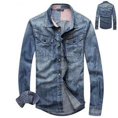 Denim Jeans, Denim Shirt, Man Jeans, Preppy Mens Fashion, Mens Fashion Suits, Denim Patchwork, Casual Fall Outfits, Shirt Jacket, Casual Shirts