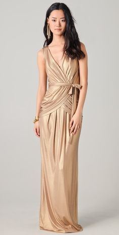 ALICE by Temperley  Long River Dress - metallic gold  $545.00