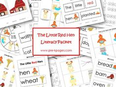 Little Red Hen Printable Literacy Activities via www.pre-kpages.com