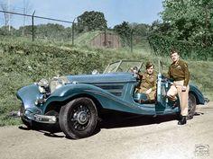 Reichsmarschall Hermann Göring's Mercedes 540K with an armored body and bulletproof glass at Berchtesgaden, Germany.