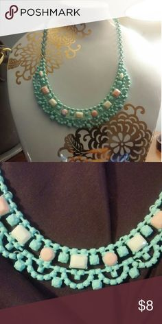 NWOT statement necklace Adorable and never worn statement necklace. Mint green with light pink and cream stones. Jewelry