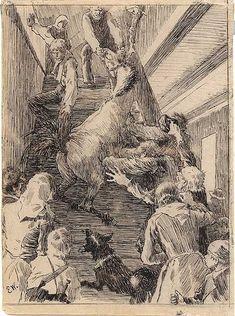 """Erik Werenskiold, Illustrasjon til """"Herremandsbruden"""" i P. Chr. Asbjørnsen og J. Moe, Eventyrbok for Børn. Norske Folkeeventyr, København 1883. (1882)"""