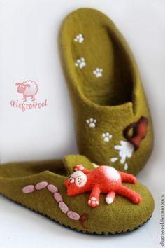 """Купить Топочки """"Кот обжорка"""" - хаки, валяные тапочки, войлок, домашняя обувь, кот, подарок"""