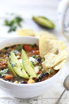 vegetarian black bean soup with sweet potato and lots of yummy toppings. #vegetarian