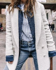 How to Layer for Spring 2017: Denim jacket outfit or jean jacket under a coat - cute spring outfit ideas - transitional spring outfits, menswear, minimalist outfit idea