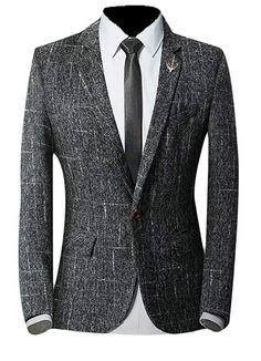 0524e29bd4e  Affiliate  Generic Men s Long Sleeve Slim Fit Suits Single-Breast Plaid Blazer  Jacket Black S