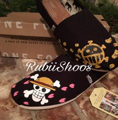 a3f89042f8e Women s Toms-One Piece-Anime-Toms-Black Toms-Jolly by RubiiShoos