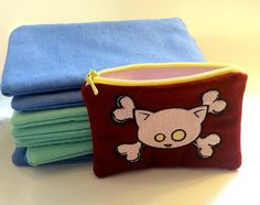 embroidered wallet- pouch- zipper pouch