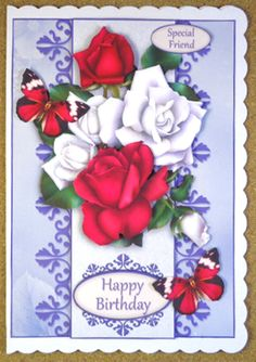 Card Front - Rose Splendour by Linda Short Printed on matt photo paper and attached to white scalloped card. Built up image with foam pads. Added sentiment and butterflies. A beautiful card in stunning colours.