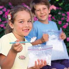 Milk can become homemade ice cream in five minutes by using a bag! This homemade, creamy treat is a summertime delight for kids and adults alike.     Check out our fun and easy step-by-step ice cream gallery!    Check out this other homemade ice cream in a can recipe, and find more summer crafts that include quick and easy warm-weather projects that will delight children. Also, check out more delicious Kaboose desserts!       What you'll need:1 tablespoon sugar   1/2 cup milk or half & half   1/4 teaspoon vanilla   6 tablespoons rock salt   1 pint-size plastic food storage bag (e.g., Ziploc)    1 gallon-size plastic food storage bag   Ice cubes   How to make it:Fill the large bag half full of ice, and add the rock salt. Seal the bag.   Put milk, vanilla, and sugar into the small bag, and seal it.   Place the small bag inside the large one, and seal it again carefully.   Shake until the mixture is ice cream, which takes about 5 minutes.   Wipe off the top of the small bag, then open it carefully. Enjoy!   Tips:A 1/2 cup milk will make about 1 scoop of ice cream, so double the recipe if you want more. But don't increase the proportions more that that -- a large amount might be too big for kids to pick-up because the ice itself is heavy.         Related Recipes:    Ice Cream in a Can   Cakes & Desserts   Summer Dessert Recipes