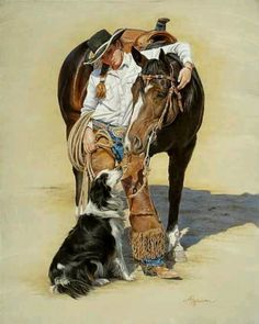 Cowgirl With Her Horse and Border Collie. My two favorite things-horse and border collie <3