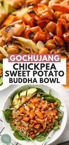 This Chickpea Sweet Potato Buddha Bowl comes together in under an hour is packed with healthy ingredients and dressed in a spicy tahini sauce. The perfect hearty bowl for lunch or dinner and can also be meal prepped for the week Vegan Gluten Free Quinoa Sweet Potato, Salad With Sweet Potato, Roasted Sweet Potatoes, Healthy Protein Snacks, High Protein Vegan Recipes, Healthy Recipes, Healthy Food, Healthy Shakes, Vegan Recipes