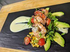 Shrimp and avocado salad with honey lemon vinaigrette.
