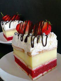 Malinowe Pocałunki: Truskawkowy szał. Sweet Recipes, Cake Recipes, Dessert Recipes, Mini Cakes, Cupcake Cakes, Summer Cakes, Cake Bars, Sweets Cake, Polish Recipes