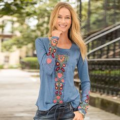 """FLOWERS FOR ABIGAIL TEE--A tribute to the art of embroidery in a scoop neck, cotton slub tee. Lace inset accents and rounded hem. Cotton. Machine wash. Imported. Exclusive. Sizes XS (2), S (4 to 6), M (8 to 10), L (12 to 14), XL (16). Approx. 25-1/2""""L."""
