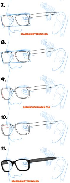 Learn How to Draw Glasses on a Man's Face from the 3/4 View (Three Quarters Angle) easy step by step drawing tutorial for beginners