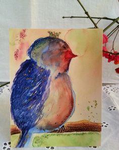 "♥♥♥ Postkarte Nr.1 ""Blauer Vogel"" ♥♥♥ von art-mate auf DaWanda.com"