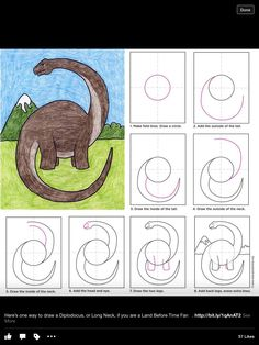 Draw a Diplodocus · Art Projects for Kids. PDF tutorial available. Learn how to draw a diplodocus, and still keep his head and tail on one sheet of paper, even if he once was the world's longest animal. Art Drawings For Kids, Drawing For Kids, Easy Drawings, Animal Drawings, Art For Kids, Drawing Drawing, Drawing Ideas, Dinosaur Art Projects, Projects For Kids