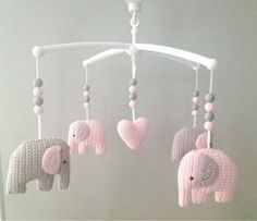 DIY Crochet Elephant Mobile - FREE Pattern / Tutorial