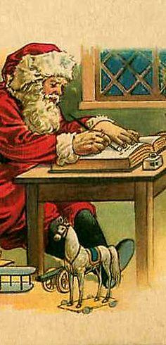 Santa checking Who is naughty or nice. Old Time Christmas, Old Fashioned Christmas, Christmas Scenes, Christmas Art, Christmas Greetings, Holiday Cards, Christmas Stuff, Holiday Ideas, Xmas
