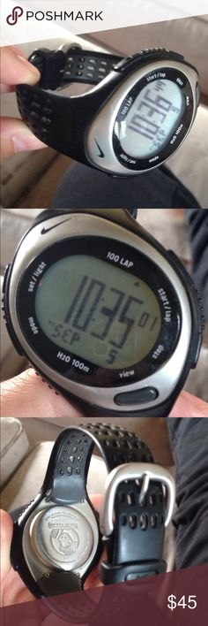 Great condition men's Nike watch Multiple settings alarm, time, running. Keeps track of laps. Great condition. Great everyday athletic watch. Battery is working. No scratches on face or band. Nike Accessories Watches