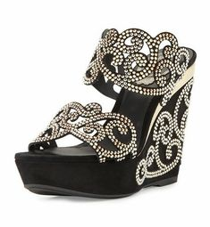 Black jeweled wedges | Sparkly heels | Prom shoes | Sweet Sixteen shoes