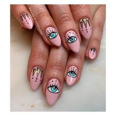 Polygel Nails, Bling Nails, Cute Nails, Hair And Nails, Fabulous Nails, Gorgeous Nails, Evil Eye Nails, Uñas Fashion, White Nail Art