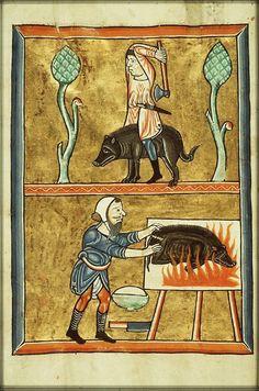 Calendar, December: a man slaughtering a pig and singeing off his bristles. Fol. 12v: full-page miniatur. ( Pig Roast)