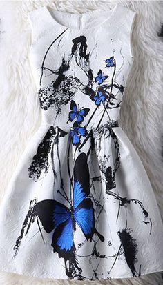 Graceful Butterfly Pattern High-Waist Dress For Women