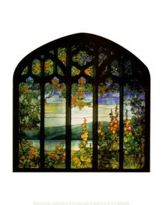 Landscape with Hollyhocks Print by Louis Comfort Tiffany at Art.com