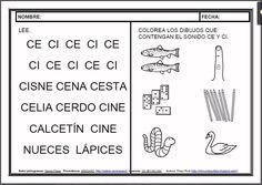 MATERIALES - Fichas de lectoescritura - CE, CI.    Fichas para el aprendizaje de la lectoescritura en letra mayúscula.    http://arasaac.org/materiales.php?id_material=983