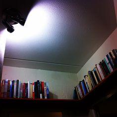 Bookshelves from reclaimed chipboard.