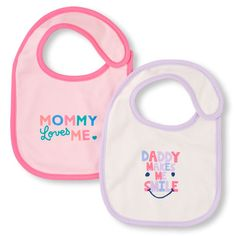 Newborn Baby 'Mommy Loves Me' And 'Daddy Makes Me Smile' Bib 2-Pack - Pink - The Children's Place