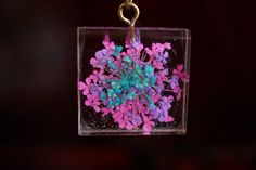Pink Purple Blue Necklace Real Flower Pressed by SylvieJewellery, $100000.00