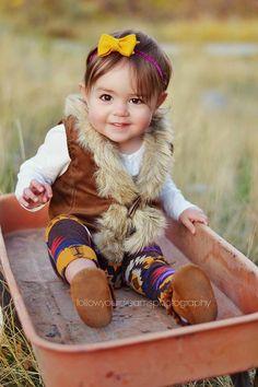 Baby Mocs One Year Photo Shoot Fall Wagon Photo Prop Baby Fashion | Follow Your Dreams Photography