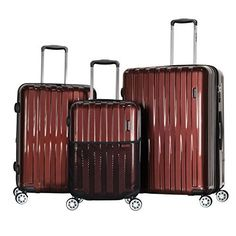 Red Olympia Titan 3 Piece Expandable Polycarbonate Hardcase Spinner Luggage Set