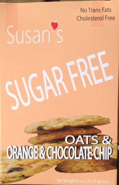 Susan's Sugar Free Vegan cookies - Orange & Chocolate Chips
