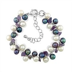 Adjustable Steel Bracelet with White/Peacock Freshwater Pearls and Amethyst - Bracelets - Jewelry Type