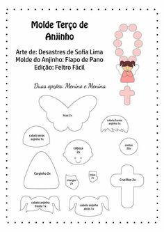 Disclosure of felt templates, tutorials, ideas and inspirations! Felt Patterns, Sewing Patterns, Felt Crafts, Diy And Crafts, Sewing Projects, Projects To Try, Felt Angel, Free To Use Images, First Holy Communion