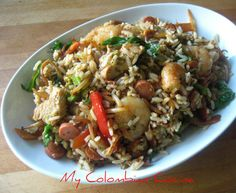 Arroz Chino-Colombiano or Chinese Rice Colombian Style Rice Dishes, Main Dishes, Colombian Cuisine, Colombian Recipes, Slow Cooker Recipes, Cooking Recipes, Risotto Dishes, Breakfast Recipes, Dinner Recipes